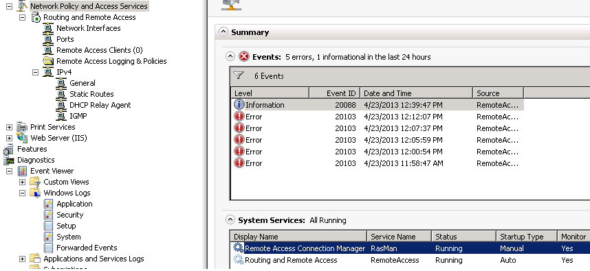 Routing and Remote Access cannot be started