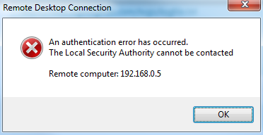 authentication error