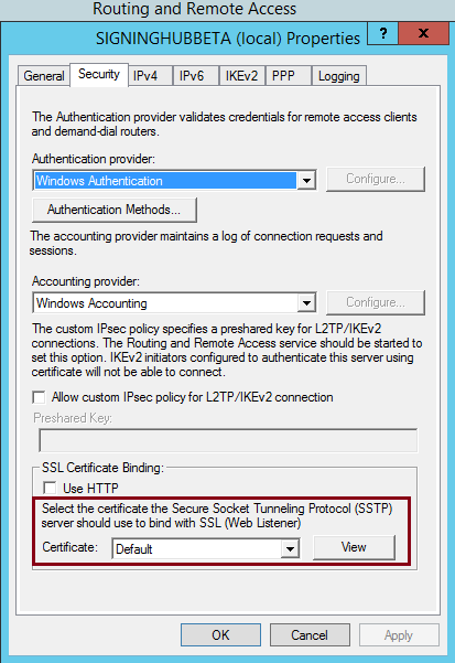 RRAS SSL certificate settings