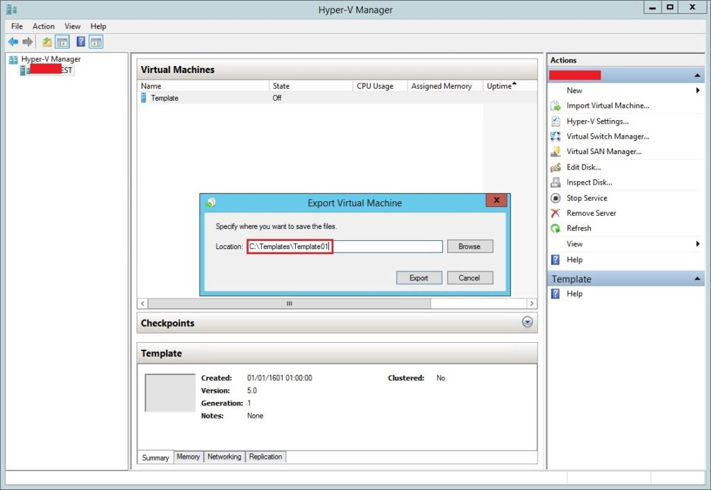 Virtual Machine Template in Hyper-V