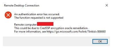 CredSSP encryption oracle remediation Error