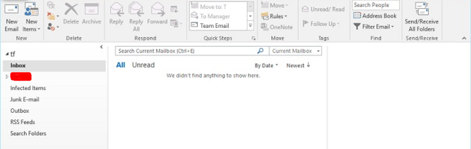 Outlook 2013/2016 Emails folders blank: we didn't find anything to
